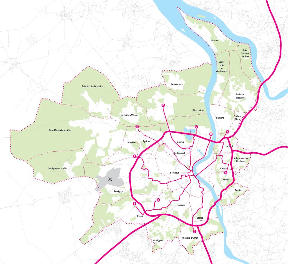 Carte des grands projets 2016 de Bordeaux Métropole